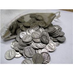Bag of 223 Mercury Dimes - 90% Silver