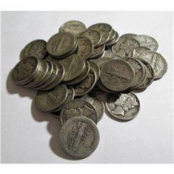 (50) Mercury Dimes $5 Face 90% Silver