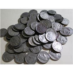 (100) Buffalo Nickels- Avg. Circ. Various Dates