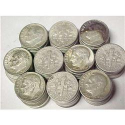 100 pcs. Roosevelts Dimes 90% Silver