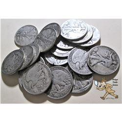 20 pcs. Walking Liberty Half Dollars -90% Silver