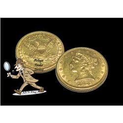 1882 P $5 Gold Liberty Half Eagle XF AU