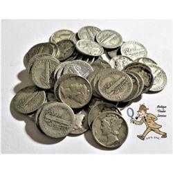 50 pcs. Mercury Dimes -90% Silver