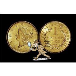 1853 Type 1 Gold $1 XF AU Grade
