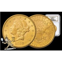 1907 MS 62 NGC $20 Gold Liberty Better Date