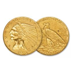 1912 $2.5 Gold Indian Quarter Eagle XF AU Grade