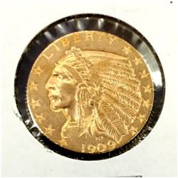 1909 D $5 Gold Indian XF AU Grade in 2x2