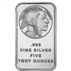 5 oz. Buffalo Design Silver Bar .999 pure