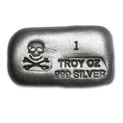 1 oz Silver Crossbones - Poured Silver - .999