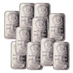 (10) Morgan Design Silver Bars .999 Pure