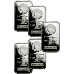 (5) Morgan Design Silver Bars 1 oz Pure
