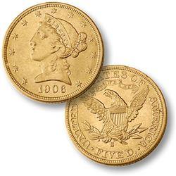 1906 S $5 Gold Liberty Half Eagle