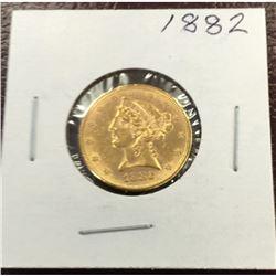 1882 P High Grade $5 Gold Liberty