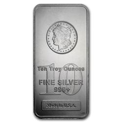 10 oz. Silver Morgan Design Bar .999 Pure