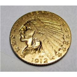 1912 S $5 Gold Indian Better Date