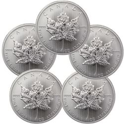 (5) Canadian Silver Maple Leafs .999 Pure