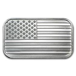 1 oz USA Flag Design Silver Bar .999 Pure