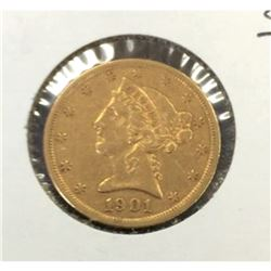 1901 s $5 Gold Liberty Half Eagle
