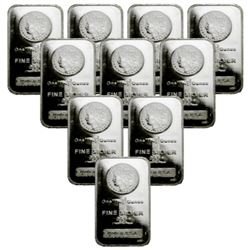 (10) 1 oz Morgan Design Silver Bars