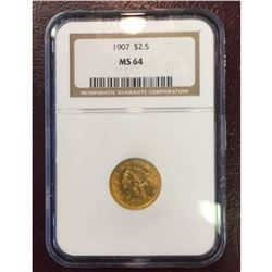 1907 MS 64 $2.5 Gold Liberty Better Date