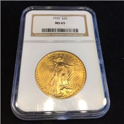1925 MS 65 NGC $20 Gold Saint Gaudens