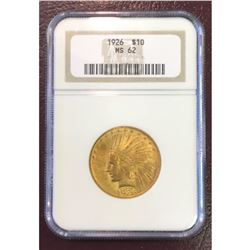 1926 MS 62 NGC $10 Gold Indian