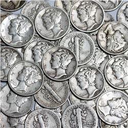 (100) Mercury Dimes 90% Silver Mix Dates
