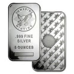 5 oz. Sunshine Silver Bar -.999 Pure