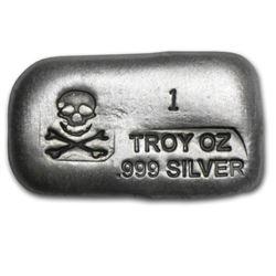 1 oz. Silver Poured Bar - Skull and Crossbones