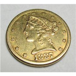 1887 S $5 FIVE Gold Liberty Half Eagle