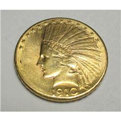 1910 D $10 TEN Gold Indian Eagle
