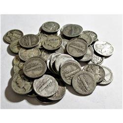 (50) Mercury Dimes -90% Silver Mixed Dates