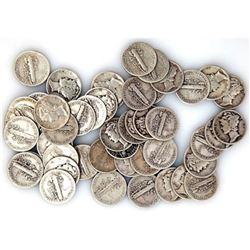 (50) Mercury Dimes -90% Silver Random
