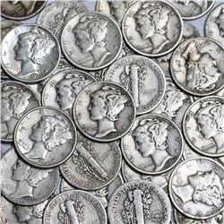 (100) Mercury Dimes -90% Silver $10 Face