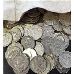 (50) Franklin Half Dollars In Canvas Bag-90%