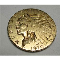 1910 $5 FIVE Gold Indian Half Eagle