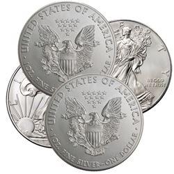 (4) BU Random Date Silver Eagles