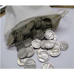 Canvas Bag - 220 Mercury Dimes - 90% Silver