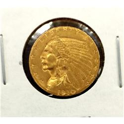 1910 $2.5 Gold Indian in White 2x2 XF AU