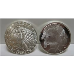 (2) 1 oz. Indian Head Silver Rounds - .999 Pure