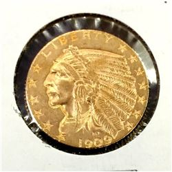 1909 d $5 Gold Indian Half Eagle Coin