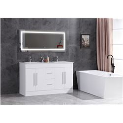 "WHITE BATHROOM VANITY - PHOENIX STONE COUNTER-TOP WITH UNDER MOUNT DOUBLE SINKS - 60"" W X 18""D X"