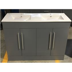 "GREY BATHROOM VANITY - CERAMIC COUNTER WITH UNDER MOUNT DOUBLE SINKS - 48""W X 18""D X 35.5""H"