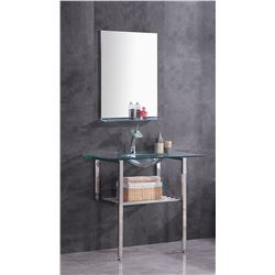 "CLEAR GLASS BASE VANITY - 39""W X 22""D X 35.5""H"