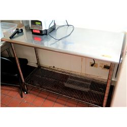 "Stainless Steel Rolling Prep Table w/ Undershelf 49.5""W x 23.5""D x 39.5""H"