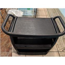 "Black Plastic Rolling Cart 19.5""D, 38""H"