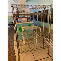 Chrome NSF Wire Shelving Unit and 2 White Shelving Units