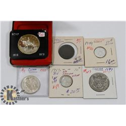 LOT OF 6 CANADIAN COINS-1973 SILVER DOLLAR,