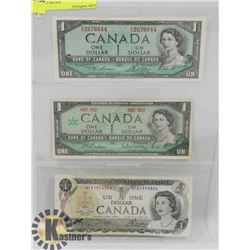 LOT OF 3 CANADIAN $1 BILLS, 1973, 1954,1967 NO S/N