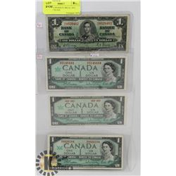 LOT OF 4 CANADIAN $1 BILLS, 1937, 1967,1967 NO S/N